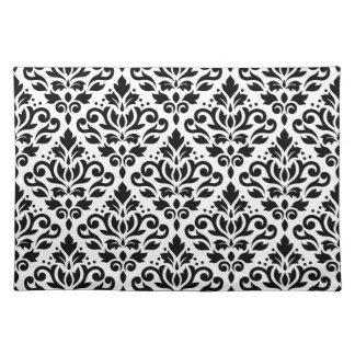 scroll damask pattern black on white placemat. Black Bedroom Furniture Sets. Home Design Ideas
