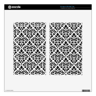 Scroll Damask Pattern Black on White Skin For Kindle Fire