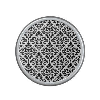 Scroll Damask Pattern Black on White Speaker