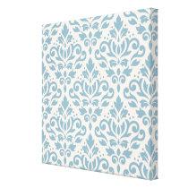 Scroll Damask Pattern Blue on Cream Canvas Print