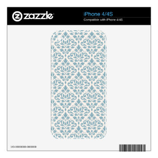 Scroll Damask Pattern Blue on Cream Skin For The iPhone 4S