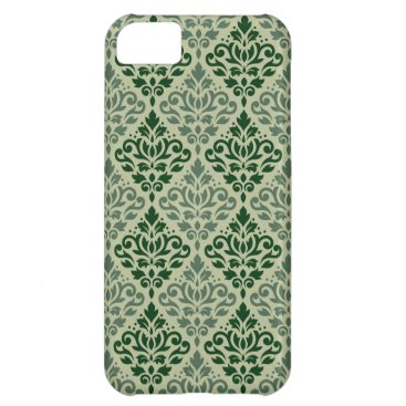 Scroll Damask Pattern Contrasting Greens Case For iPhone 5C
