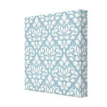 Scroll Damask Pattern Cream on Blue Canvas Print
