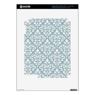 Scroll Damask Pattern Cream on Blue iPad 3 Skin