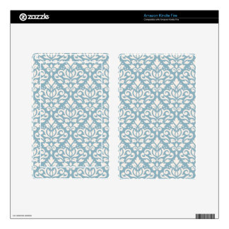 Scroll Damask Pattern Cream on Blue Skins For Kindle Fire