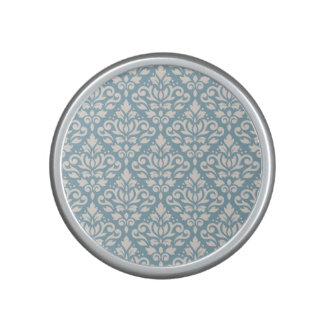 Scroll Damask Pattern Cream on Blue Speaker