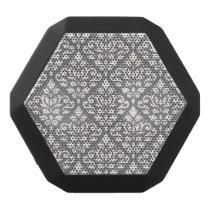 Scroll Damask Pattern Cream on Grey Black Bluetooth Speaker