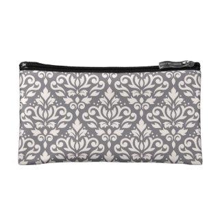 Scroll Damask Pattern Cream on Grey Cosmetic Bag