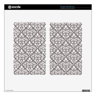 Scroll Damask Pattern Cream on Grey Decal For Kindle Fire
