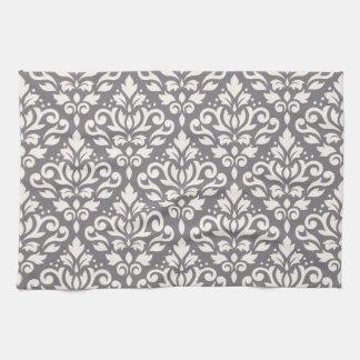 Scroll Damask Pattern Cream on Grey Hand Towel