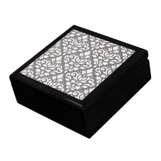 Scroll Damask Pattern Cream on Grey Jewelry Box