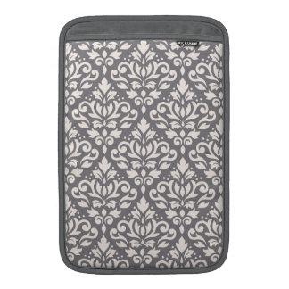 Scroll Damask Pattern Cream on Grey MacBook Sleeve