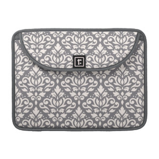 Scroll Damask Pattern Cream on Grey Sleeves For MacBook Pro