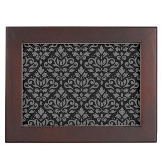 Scroll Damask Pattern Grey on Black Memory Boxes