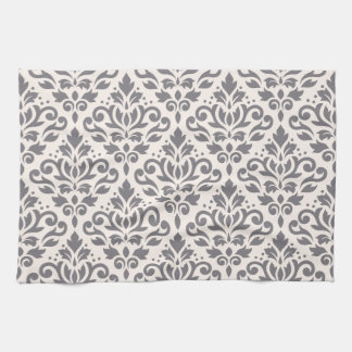 Scroll Damask Pattern Grey on Cream Hand Towels