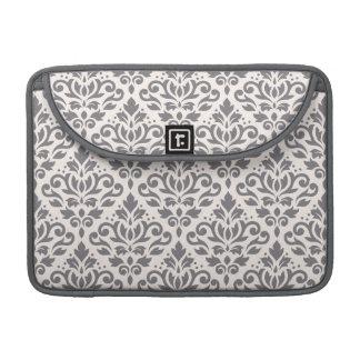 Scroll Damask Pattern Grey on Cream MacBook Pro Sleeve
