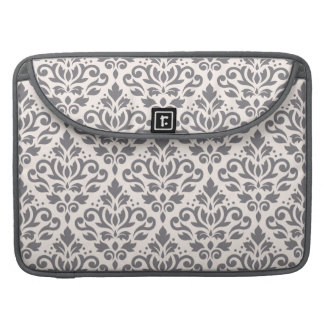 Scroll Damask Pattern Grey on Cream MacBook Pro Sleeves