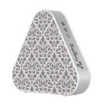 Scroll Damask Pattern Grey on Cream Speaker
