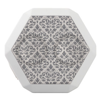 Scroll Damask Pattern Grey on Cream White Bluetooth Speaker