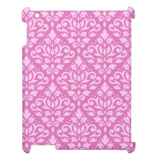 Scroll Damask Pattern Light on Dark Pink Cover For The iPad
