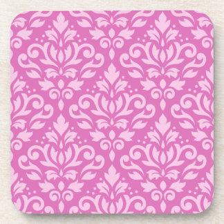 Scroll Damask Pattern Light on Dark Pink Drink Coaster
