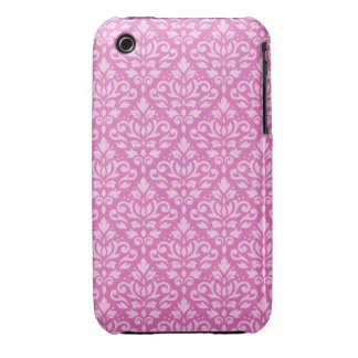 Scroll Damask Pattern Light on Dark Pink iPhone 3 Case