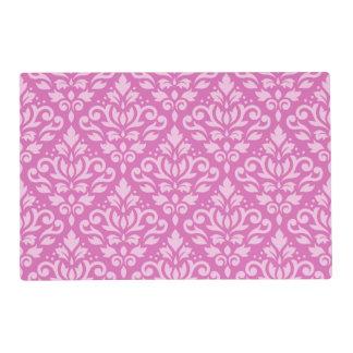 Scroll Damask Pattern Light on Dark Pink Placemat