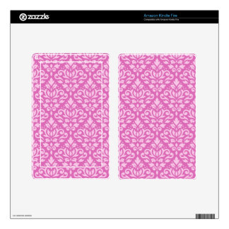 Scroll Damask Pattern Light on Dark Pink Decal For Kindle Fire