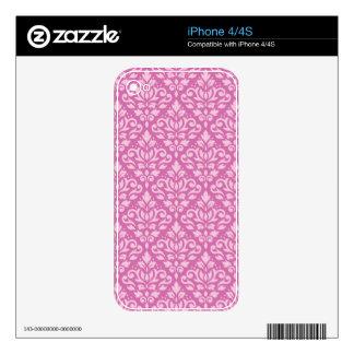 Scroll Damask Pattern Light on Dark Pink iPhone 4 Skin