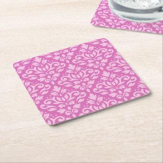Scroll Damask Pattern Light on Dark Pink Square Paper Coaster