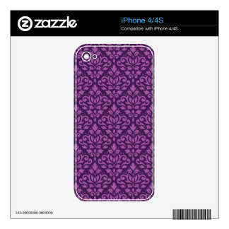 Scroll Damask Pattern Light on Dark Plum Decal For iPhone 4