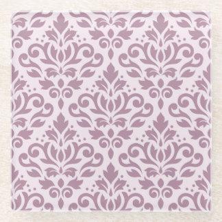 Scroll Damask Pattern Mauve on Pink Glass Coaster