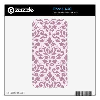 Scroll Damask Pattern Mauve on Pink iPhone 4S Skins
