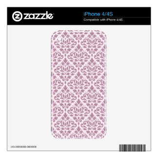 Scroll Damask Pattern Mauve on Pink Skins For iPhone 4