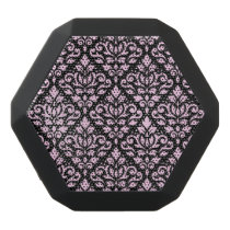 Scroll Damask Pattern Pink on Black Black Bluetooth Speaker