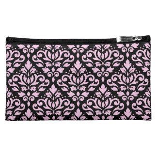 Scroll Damask Pattern Pink on Black Cosmetic Bag