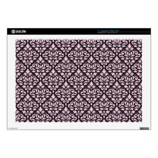 "Scroll Damask Pattern Pink on Black Decal For 17"" Laptop"