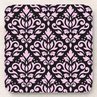 Scroll Damask Pattern Pink on Black Drink Coaster