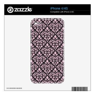 Scroll Damask Pattern Pink on Black iPhone 4S Skin