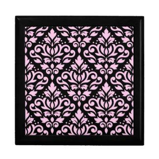 Scroll Damask Pattern Pink on Black Jewelry Box