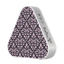 Scroll Damask Pattern Pink on Black Speaker
