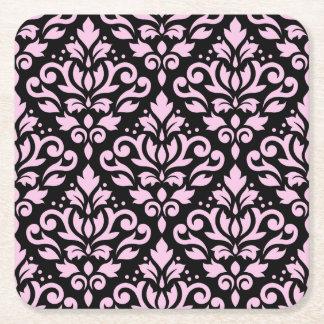 Scroll Damask Pattern Pink on Black Square Paper Coaster