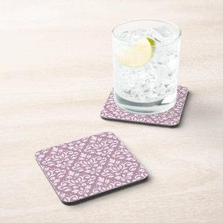 Scroll Damask Pattern Pink on Mauve Drink Coaster