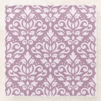Scroll Damask Pattern Pink on Mauve Glass Coaster