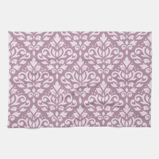 Scroll Damask Pattern Pink on Mauve Hand Towels