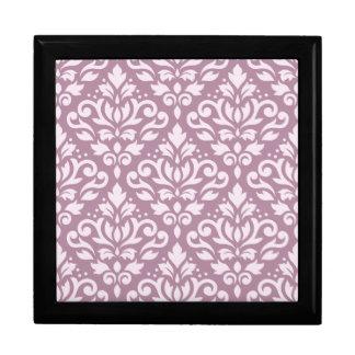 Scroll Damask Pattern Pink on Mauve Jewelry Box