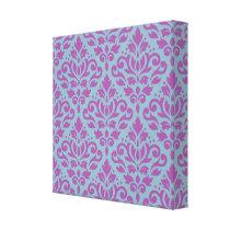 Scroll Damask Pattern Plum on Blue Canvas Print