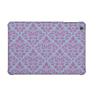 Scroll Damask Pattern Plum on Blue iPad Mini Covers