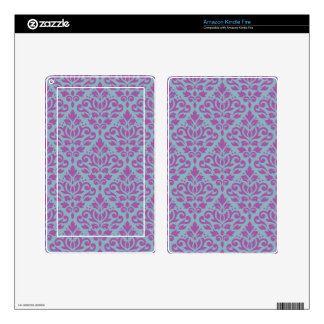 Scroll Damask Pattern Plum on Blue Skins For Kindle Fire