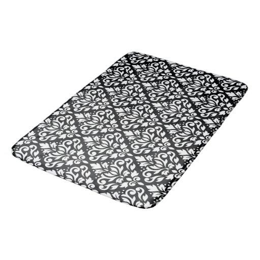 Scroll damask pattern white on black bath mats zazzle for Black and white damask bath mat